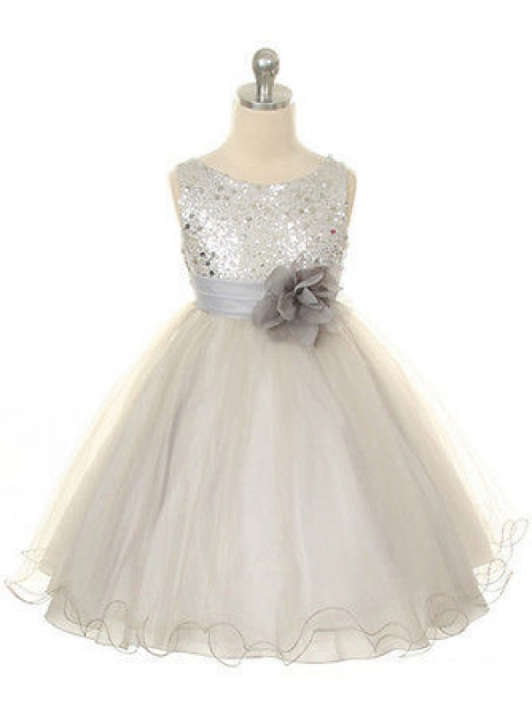 Ball Gown Hand-Made Flower Jewel Sleeveless Tea-Length Organza Flower Girl Dresses