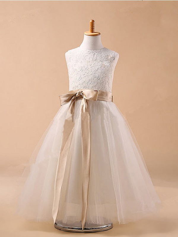 Ball Gown Bowknot Jewel Sleeveless Tea-Length Tulle Flower Girl Dresses