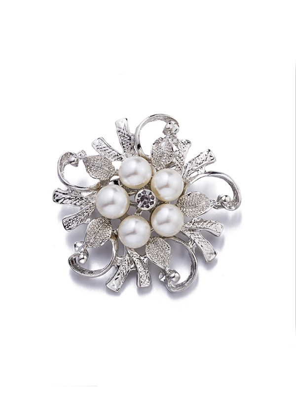 Brilliant Alloy With Imitation Pearl Ladies' Brooch