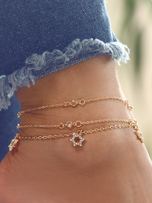 Fashion Alloy With Rhinestone Hot Sale Anklets(3 Pieces)