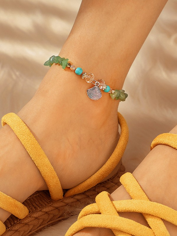 Aristocratic Shell Alloy Anklets