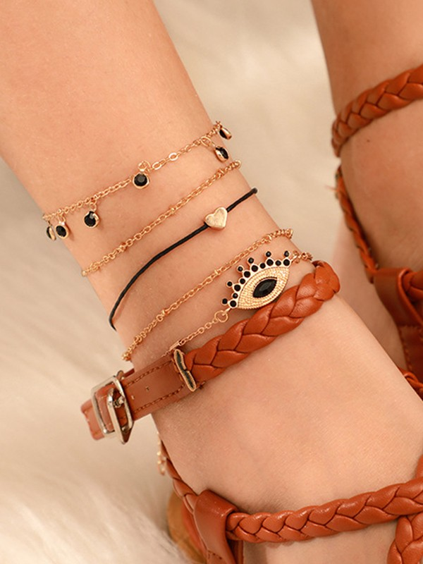 Special Rhinestone Alloy Anklets(4 Pieces)