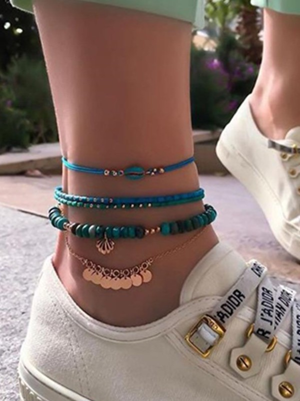Brilliant Shell Alloy Anklets(4 Pieces)