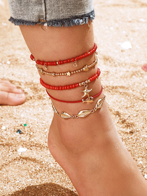 Stunning Alloy With Shell/Starfish Anklets(5 Pieces)