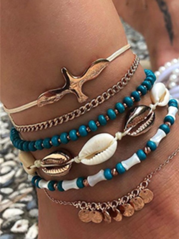 Noble Shell Alloy Anklets(6 Pieces)