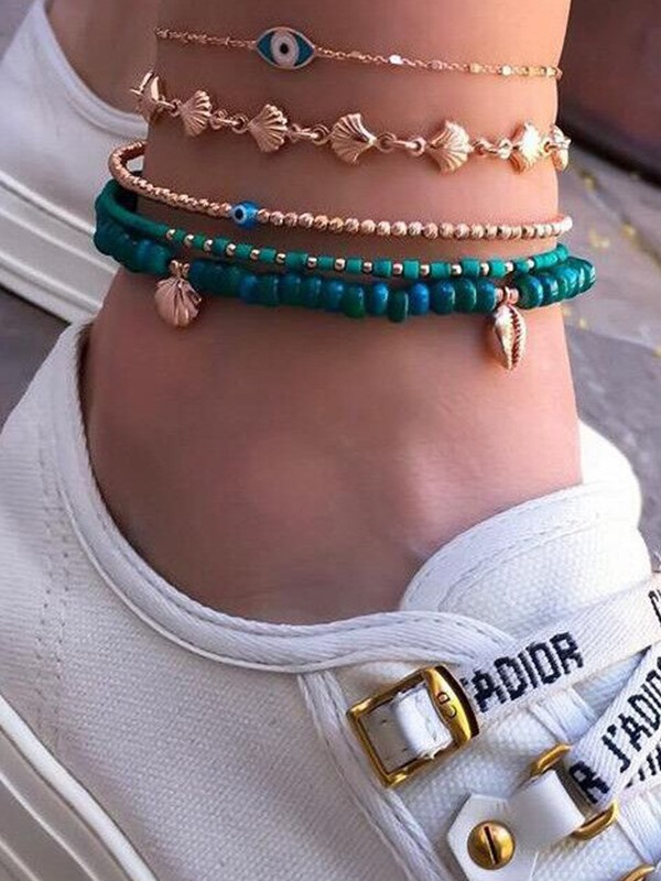 Glamorous Shell Alloy Anklets(5 Pieces)