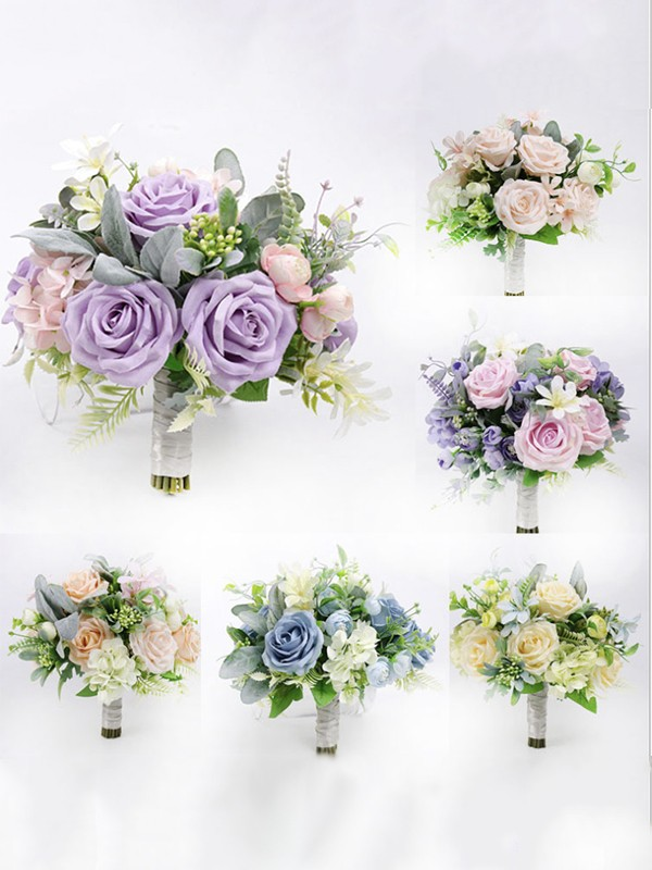 Elegant Free-Form Silk Flower Bridal Bouquets