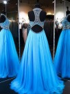A-Line Jewel Sleeveless Sweep/Brush Train With Beading Tulle Dresses