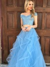 A-Line Sleeveless Off-the-Shoulder Tulle With Applique Floor-Length Two Piece Dresses