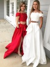 A-Line Off-the-Shoulder Sleeveless Sweep/Brush Train With Lace Satin Two Piece Dresses