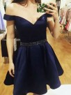 A-Line Off-the-Shoulder Satin With Beading Sleeveless Short/Mini Dresses