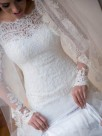Mermaid Long Sleeves Off-the-Shoulder Sweep/Brush Train With Applique Lace Tulle Wedding Dresses