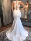 Mermaid Sleeveless Scoop Court Train With Applique Satin Wedding Dresses