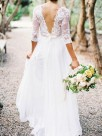 A-Line 1/2 Sleeves V-neck Floor-Length With Applique Lace Chiffon Wedding Dresses