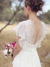 A-Line Chiffon V-neck With Ruched Short Sleeves Floor-Length Wedding Dresses