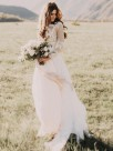 A-Line With Applique Tulle Scoop Long Sleeves Floor-Length Wedding Dresses