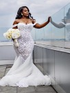 Mermaid Off-the-Shoulder Sleeveless Tulle With Ruffles Court Train Wedding Dresses