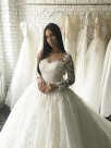 Ball Gown Tulle Scoop Long Sleeves With Applique Court Train Wedding Dresses