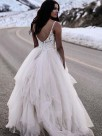 A-Line With Ruched Tulle V-neck Sleeveless Floor-Length Wedding Dresses