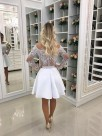 A-Line Long Sleeves Off-the-Shoulder Chiffon With Beading Short/Mini Dresses