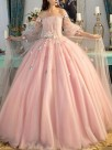 Ball Gown Off-the-Shoulder Tulle Long Sleeves Hand-Made Flower Floor-Length Dresses
