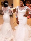 Mermaid Tulle 3/4 Sleeves With Applique Lace Court Train Wedding Dresses
