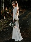 Sheath/Column Jewel Long Sleeves Floor-Length Ruffles Elastic Woven Satin Wedding Dresses
