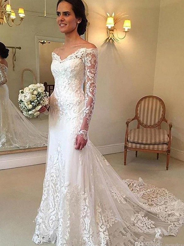 Lace Wedding Dress With Sleeves.Trumpet Mermaid Applique Off The Shoulder Long Sleeves Court Train Lace Wedding Dresses