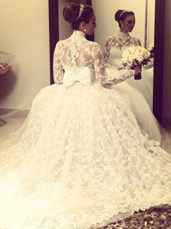 Ball Gown High Neck Long Sleeves Sweep Brush Train Lace Wedding Dresses Promhoney Online,Pakistani Wedding Maxi Dresses New Look