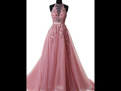 A-Line Halter Sleeveless Sweep/Brush Train With Applique Tulle Dresses